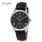 [TANDY] 탠디 다이아몬드 가죽남성시계 T-1663M BK
